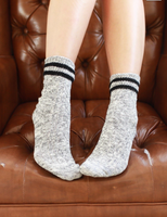 Light Grey Cable Knitted Striped Socks
