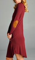Burnt Red LS Elbow Patch Dress