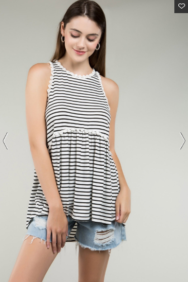 Black & White Striped Babydoll Tank Top