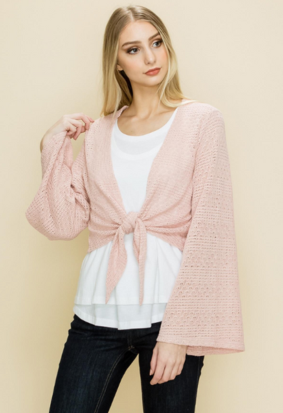 Blush LS Knit Tie Front Top