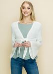 White LS Knit Tie Front Top