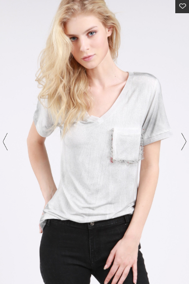 Light Grey Feather Pocket Tee