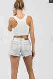 White Fleece Razorback Crop Tank