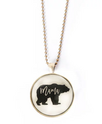 Mama Bear Glass Circle Necklace