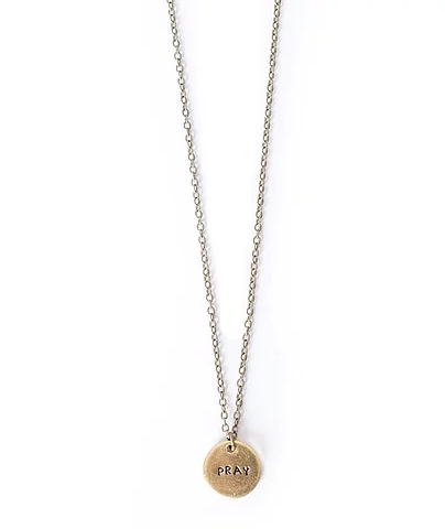 Pray Tiny Brass Circle Necklace