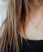 Hope Tiny Brass Circle Necklace