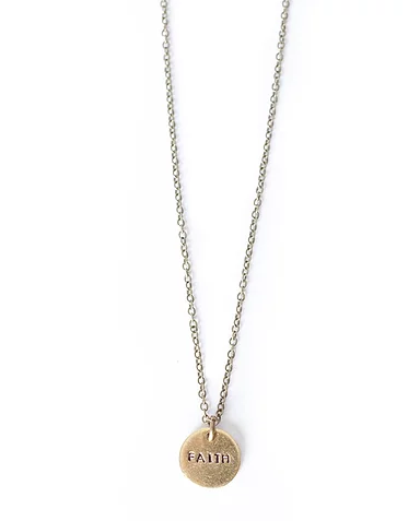 Faith Tiny Brass Circle Necklace