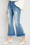 Women's Lace Up Distressed Flare Jeans