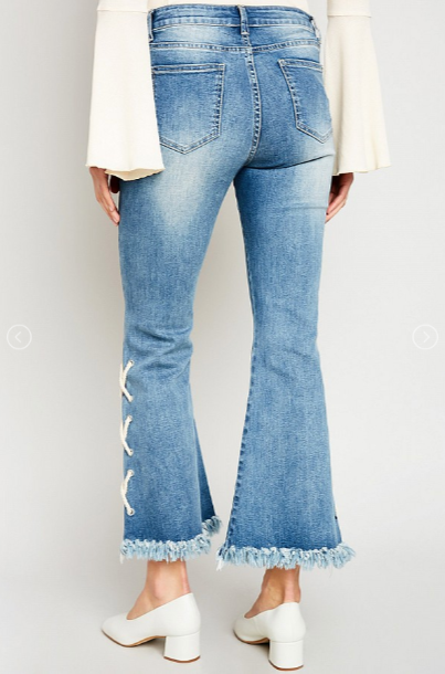 Light Wash - Mid Rise - Distressed - Lace Up - Flare Jeans