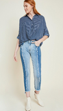 Two-Tone Frayed Denim Jeans