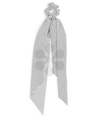 White and Black Striped Scrunchie Scarf