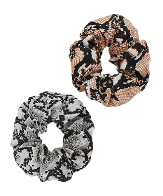 Beige and Grey Snake Print Scrunchie Set