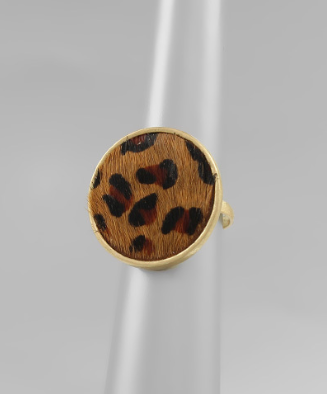 Brown Leopard Cowhide Circle Ring
