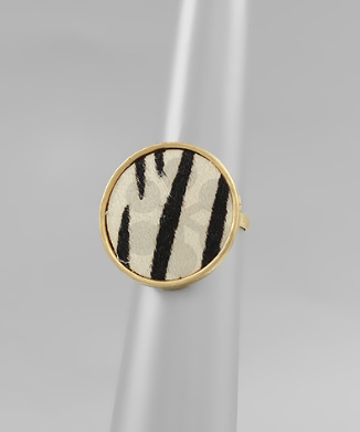 White Zebra Cowhide Circle Ring