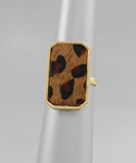 Brown Leopard Cowhide Rectangle Ring