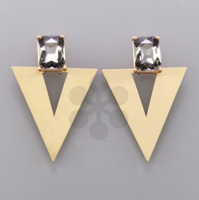 Black Crystal Satin V Earrings