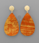 Gold Stud Orange Teardrop Earrings