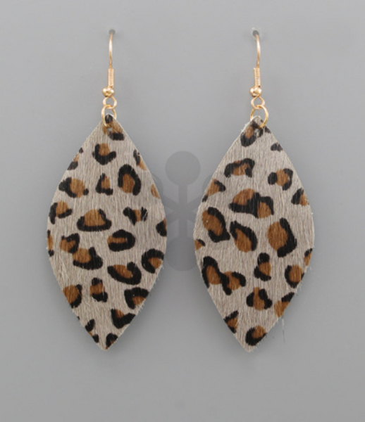 Grey Leopard Marquise Earrings
