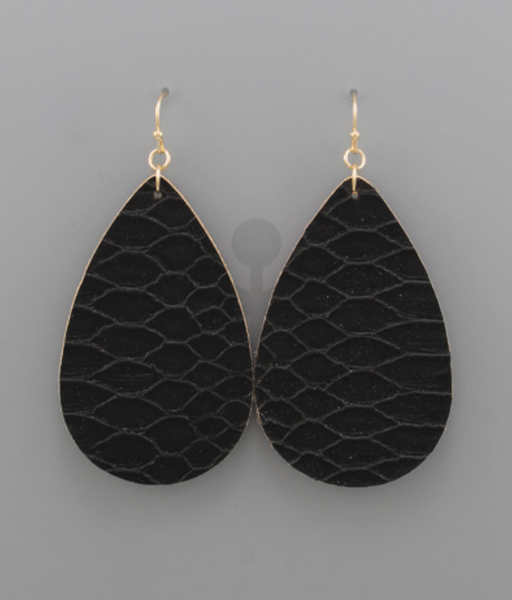 Black Snakeskin Teardrop Earrings