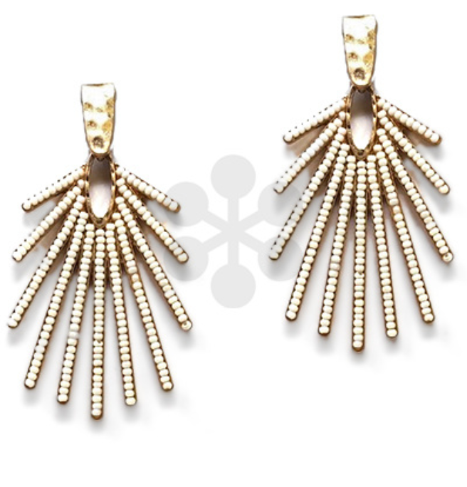 Ivory Beaded Firework Earrings