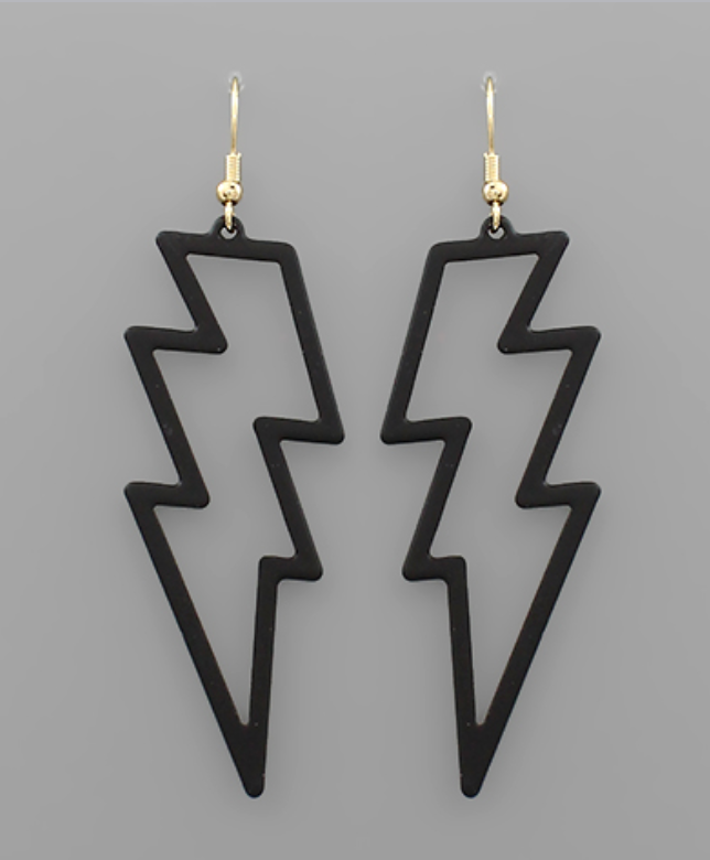 Black Acrylic Lightning Earrings
