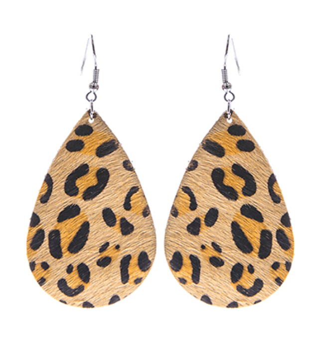 Beige Leopard Teardrop Leather Earrings