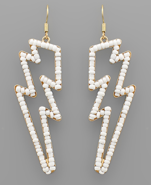 White Beaded Lighting Bolt Earrings