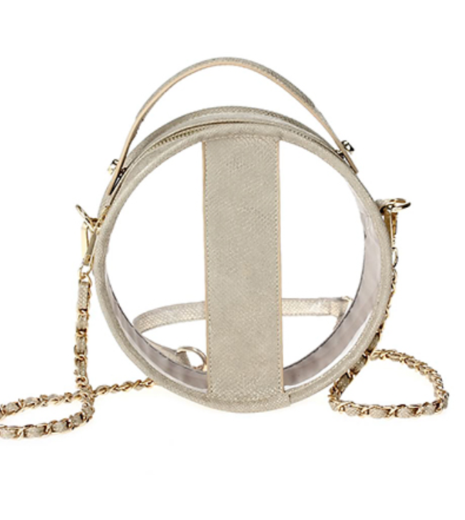 Matte Gold Circle Clear Crossbody