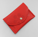 Red Cracked Leather Card Holder