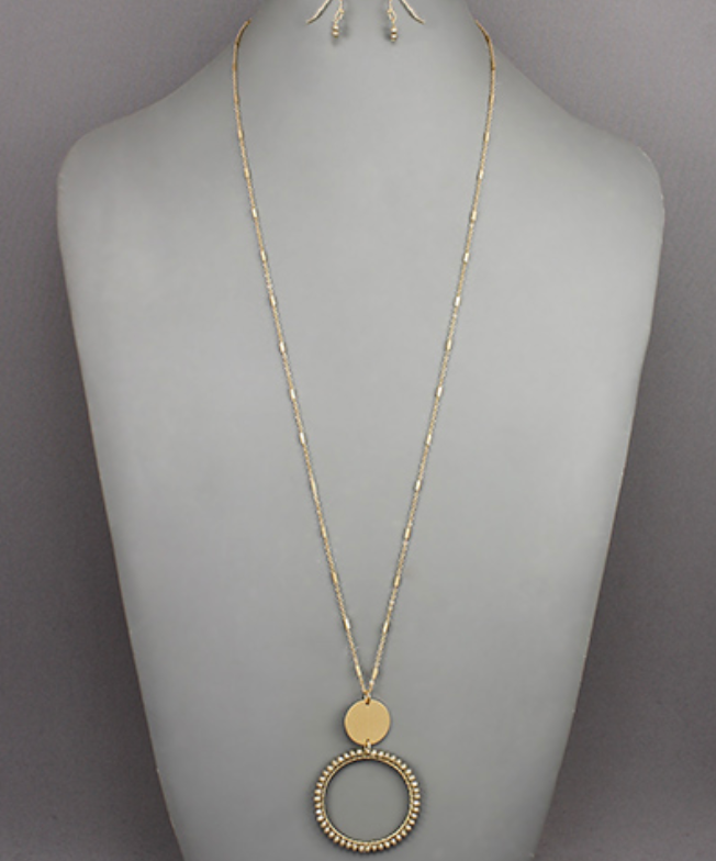 Taupe Beaded Circle & Disc Necklace