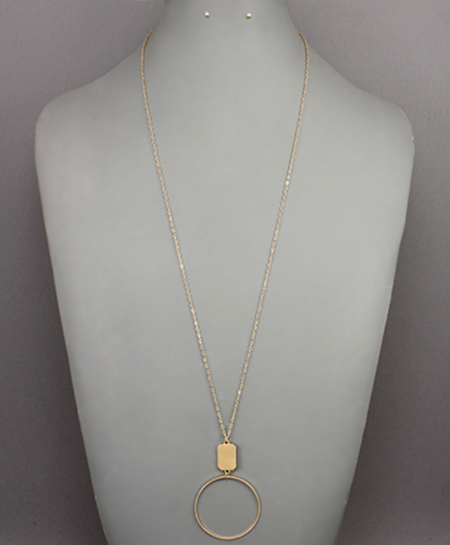 Matte Gold Circle/Rectangle Necklace