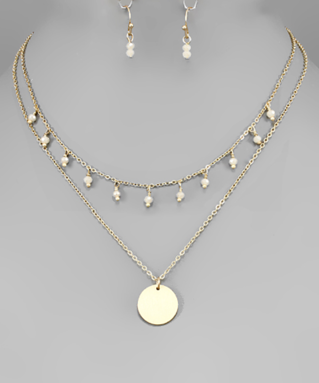 Natural Beaded Circle Disc Layering Necklace