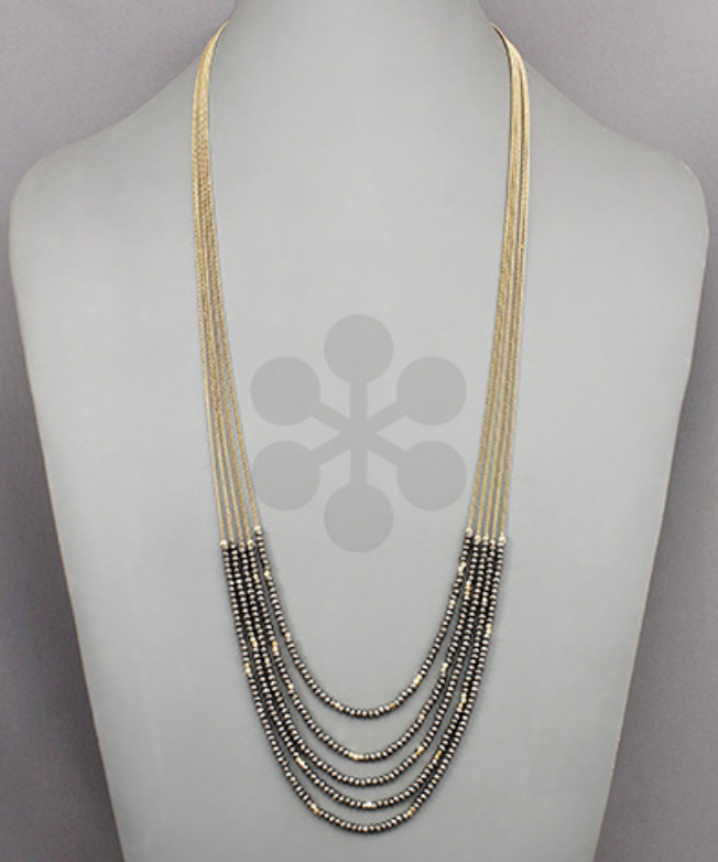 Gunmetal/Gold Multi Layered Beaded Necklace
