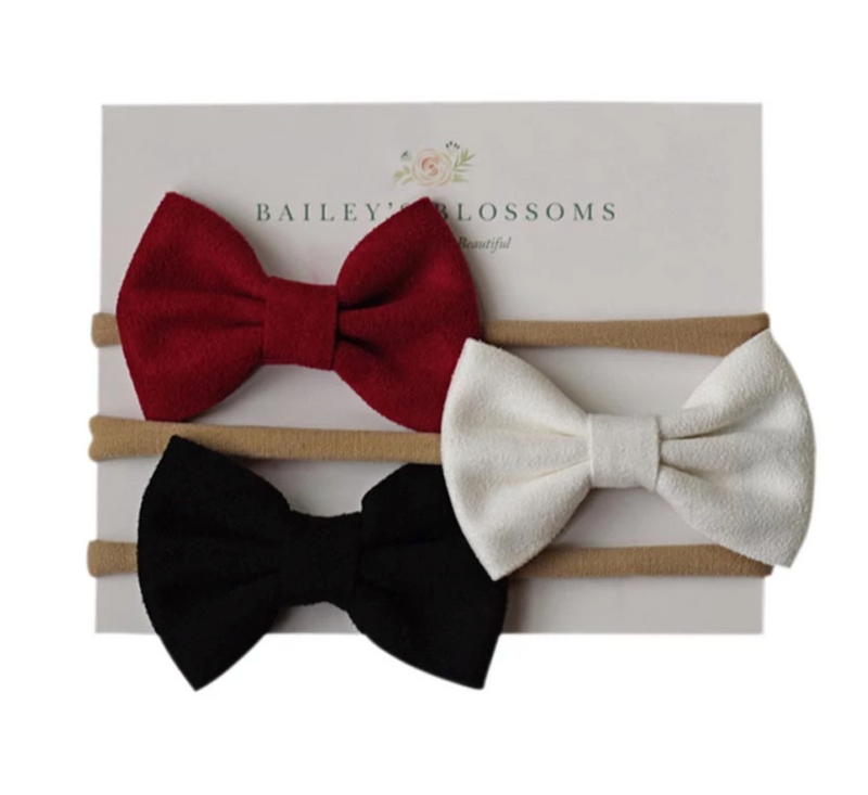 Leather Bow Headbands - WINE/WHITE/BLACK
