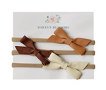 Leather Bow Headbands - CREAM/BROWN/CAMEL