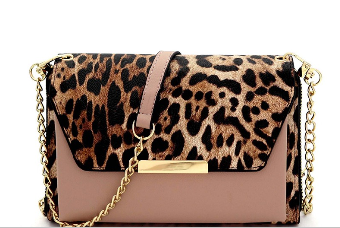 Taupe and Leopard Crossbody Bag