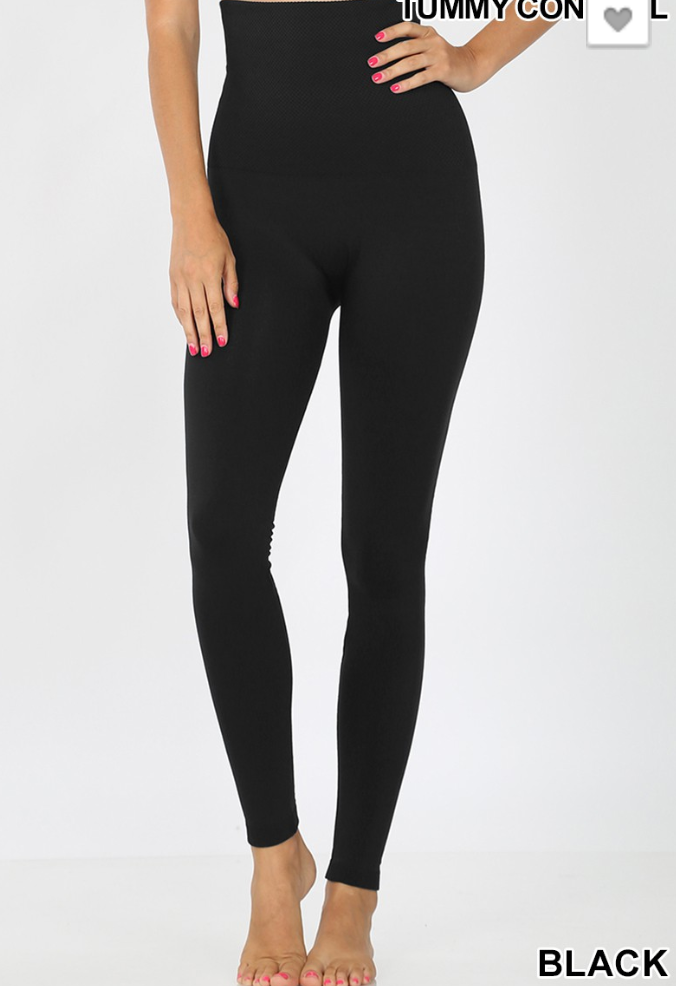 Black Tummy Control Fleece Leggings- 9 in. waist band