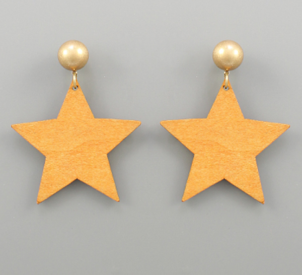 Natural Wooden Star and Ball Post Earrings