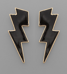 Black Epoxy Lightning Bolt Earrings