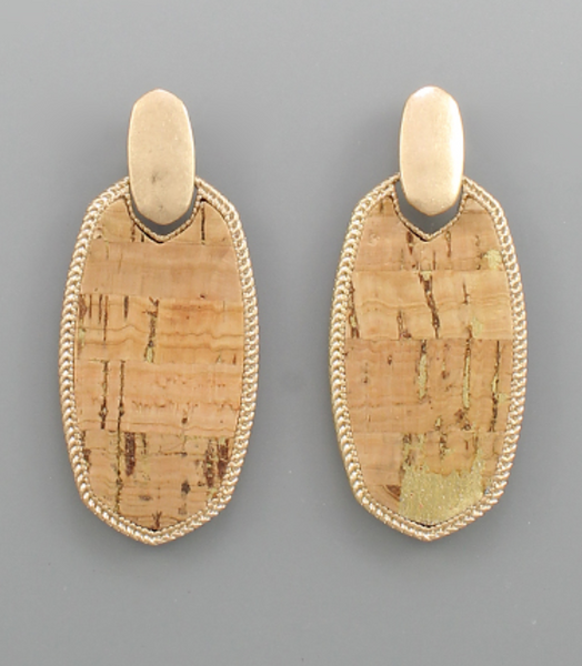 Natural Cork Oval Earrings