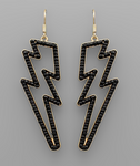 Black Beaded Lighting Bolt Earrings