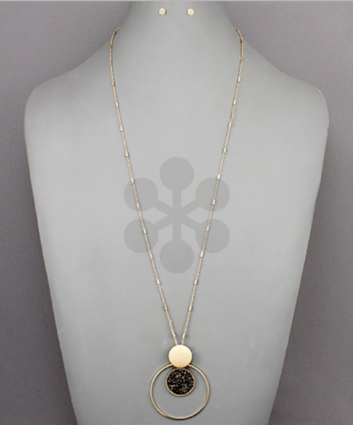 Gold Hematite Disc Circle Long Necklace