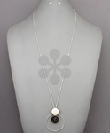 Silver Hematite Disc Circle Long Necklace