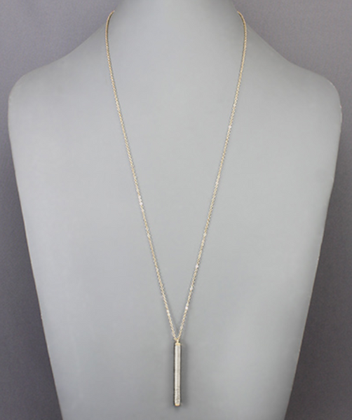 Silver Wrapped Bar Necklace