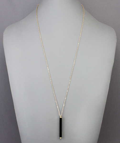 Black Wrapped Bar Necklace