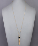 Black Leather Wrapped Wavy Bar Necklace