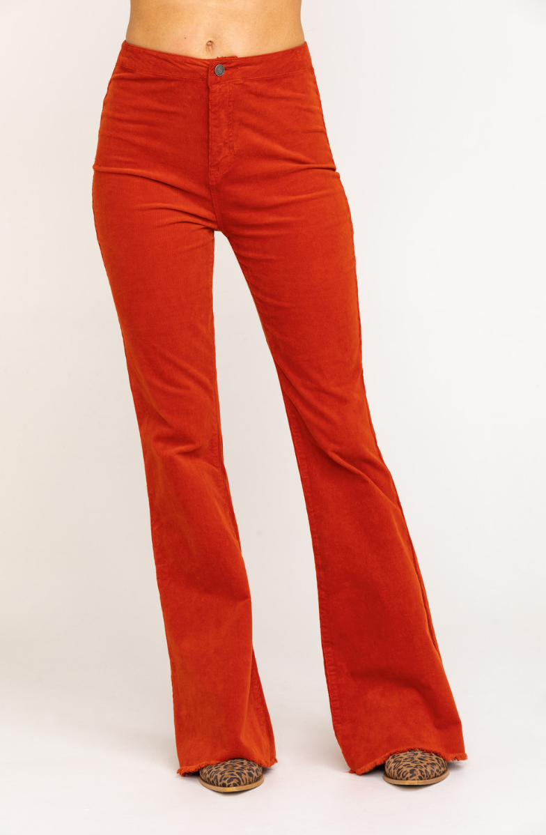 High Rise Frayed Hem Cognac Corduroy Super Flare Pants