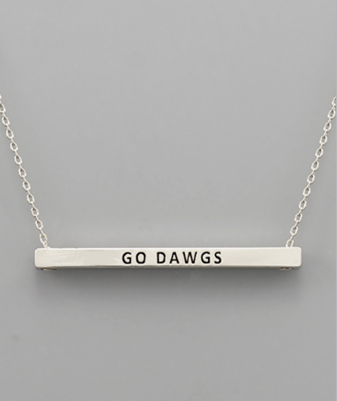 "Silver ""Go Dawgs"" Bar Necklace"