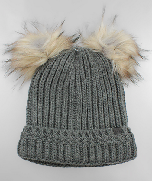 Charcoal Double Pom Fur Beanie