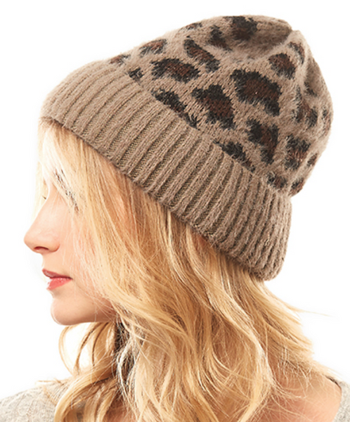 Taupe/Brown Leopard Beanie